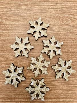 Confezione 10 Decorazioni legno fiocchi neve shabby 7 cm
