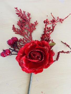 Mazzetto Rosa rossa con ramo glitter