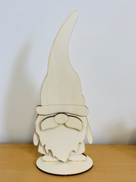 Gnomo con baffi  3D 40 cm