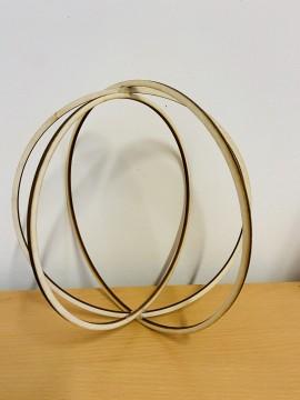 Base con 3 cerchi di Legno da appendere