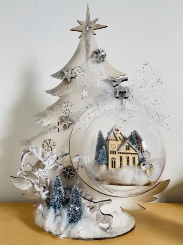 Kit porta sfera albero con sfera decorata