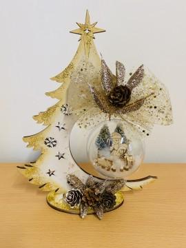 Kit porta sfera albero 24 cm con sfera da 8 cm e presepe