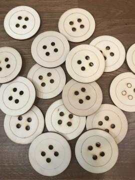 Confezione 80 Bottoni in Legno 6cm Spessore 4/5mm